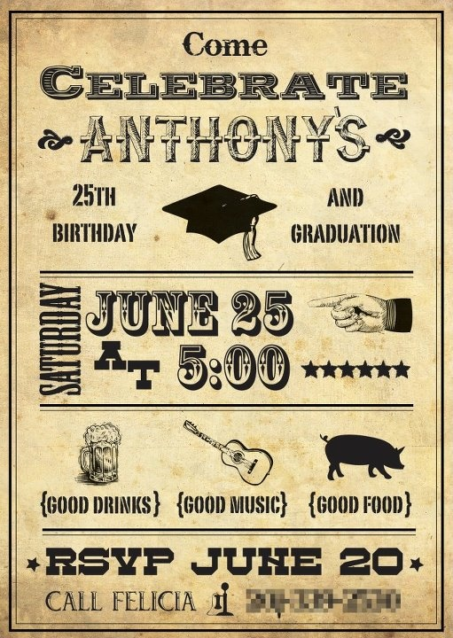 Invitation For A Combined Graduation And 25th Birthday