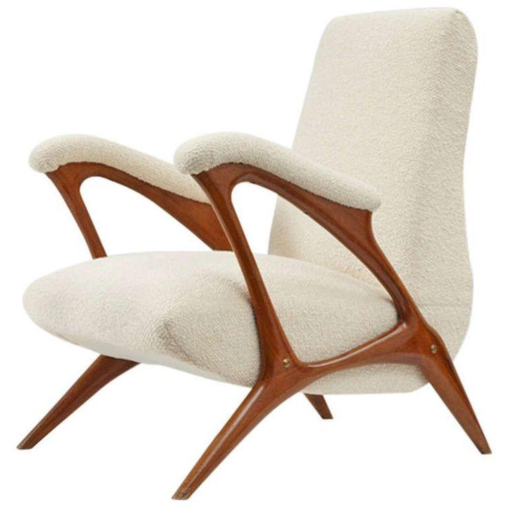 Pierluigi Giordani: Walnut frame armchair, c1958.