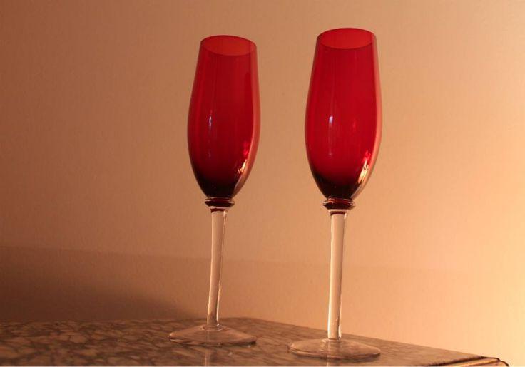 Set 6 copas rojas champagne $15000