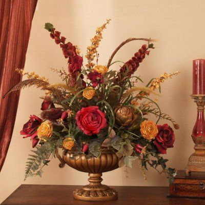 """Grande Red and Gold Silk Floral Centerpiece AR276 - A magnificent silk centerpiece for a larger table setting. Roses, ranunculus, artichokes, delphinium, fern feathers and grasses are designed in a gorgeous scalloped pedestal vase in antique gold finish. 32""""H x 22"""" W #silkflowers"""