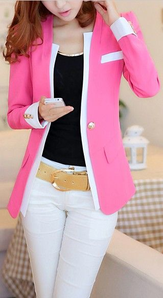 Polyester Color Block Long Sleeves Women's Blazer not sure about the Pink but like the overall look