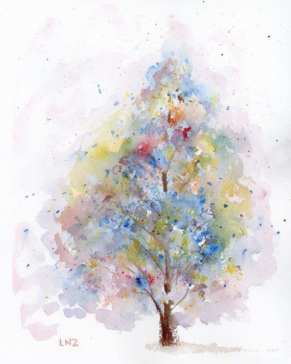 Watercolor Tree Art Landscape Print Fine Art Floral Modern Art