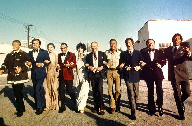 Steve McQueen, Robert Wagner, Faye Dunaway, William Holden, Jennifer Jones, Fred Astaire, Paul Newman, Richard Chamberlain, Robert Vaughn and O.J. Simpson. (all in The Towering Inferno.)