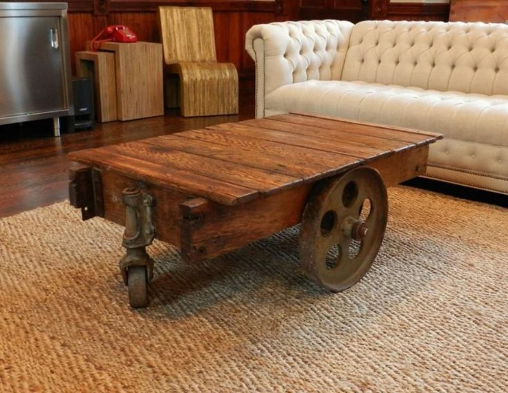 Antique Coffee Table With Wheels