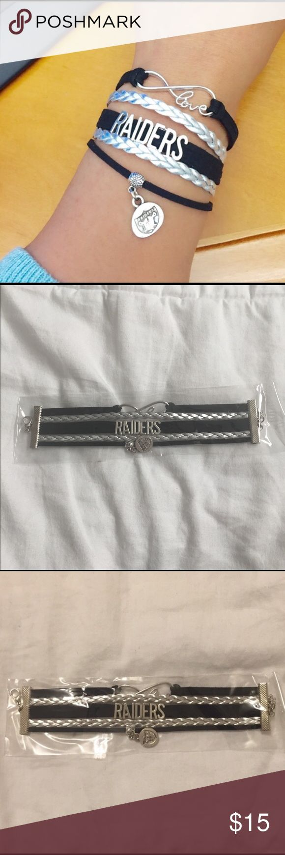 NIP Oakland RAIDERS Bracelet Are you a Raiders Fan? Represent the Raider Nation with this sweet bracelet!  It is new in package so it's Great as a gift. I wear mine proudly. Faux leather bracelet with infinity love /RAIDERS/Raider charm. Questions? Please ask prior to purchasing bundle and save. Jewelry Bracelets