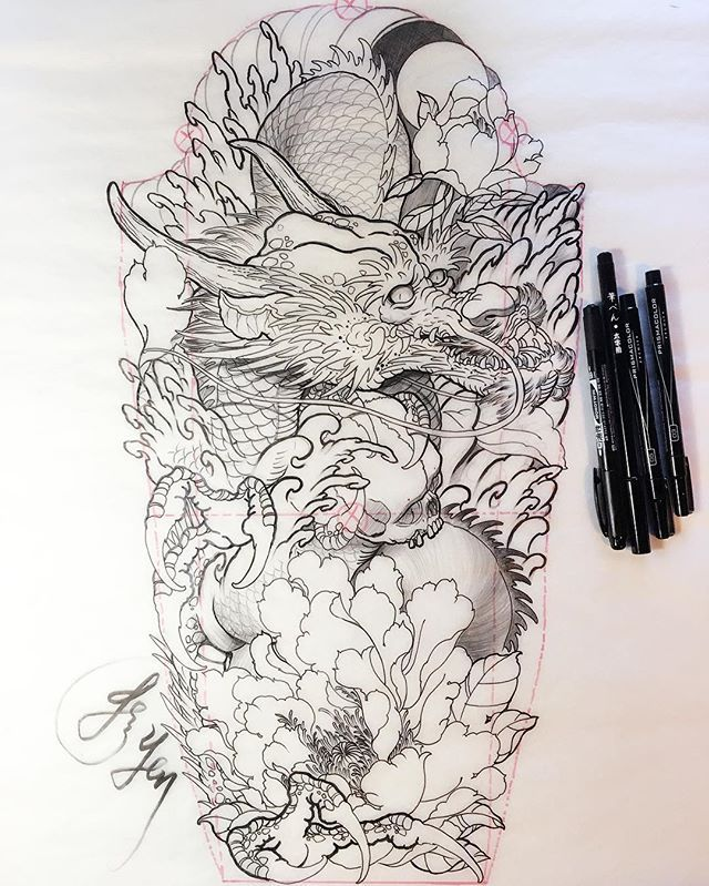 Original dragon drawing of a new sleeve design by for Upcoming tattoo conventions