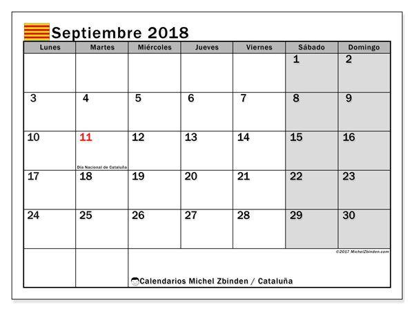 Calendario para imprimir gratis septiembre 2018, con los días festivos de Cataluña. Calendario mensual.
