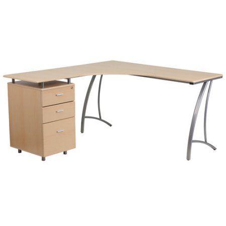 Flash Furniture Laminate L-Shape Desk with 3-Drawer Pedestal, Brown