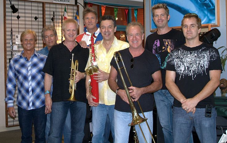 The legendary band Chicago visits The Woodwind & Brasswind. (L to T) Tris Imboden, Bill Champlin, Lee Loughnane, Robert Lamm, Walt Parazaider, James Pankow, Keith Howland, Jason Scheff.