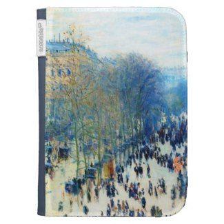 SOLD! - Boulevard des Capucines Claude Monet fine art Kindle Keyboard Case #KINDLE #CASE #bouldevard #capucines #monet #Paris #France