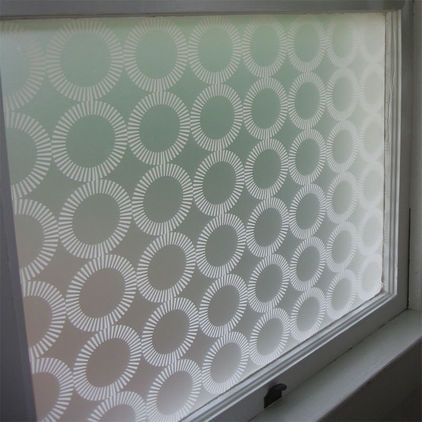 Use Window film for privacy & let light in! Great for bathrooms.  modern window treatments by Design Public