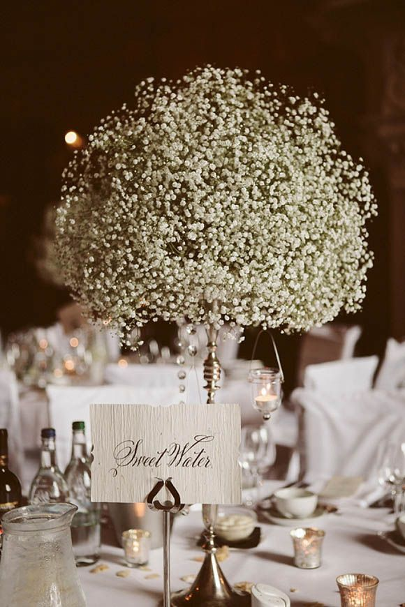 vintage tall baby breath wedding centerpiece / http://www.deerpearlflowers.com/rustic-budget-friendly-gypsophila-babys-breath-wedding-ideas/3/
