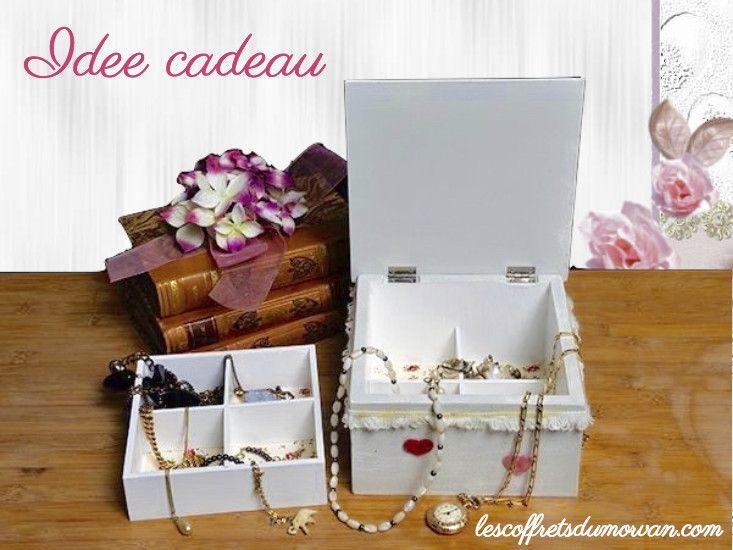 #Idee #cadeau personnalisé - Coffret bijoux style shabby chic en vente sur : http://www.lescoffretsdumorvan.com/coffret-a-bijoux-shabby,fr,4,CBSH.cfm
