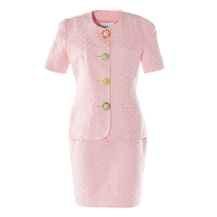Gai Mattiolo Pink Skirt Suit | See more vintage Skirt Suits at http://www.1stdibs.com/fashion/clothing/suits-outfits-ensembles/skirt-suit in 1stdibs
