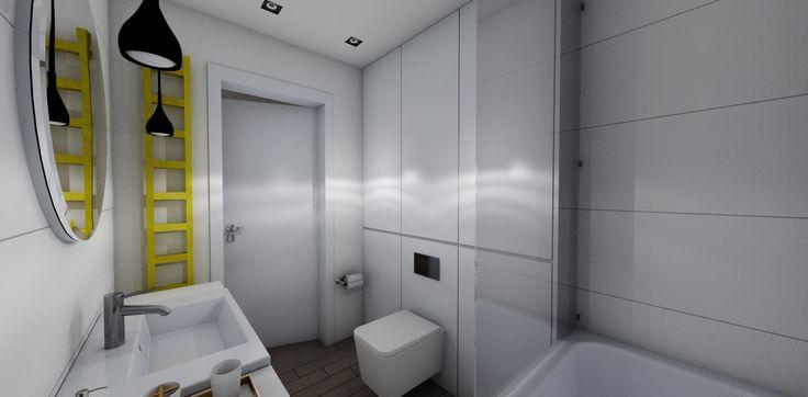 Biel  w łaziance nadaje jej sterylności i jest łatwa w utrzymaniu porządku. Kolorowa drabinka- kaloryfer i stylowe lampy na tle bieli stają się kluczową ozdobą pomieszczenia.