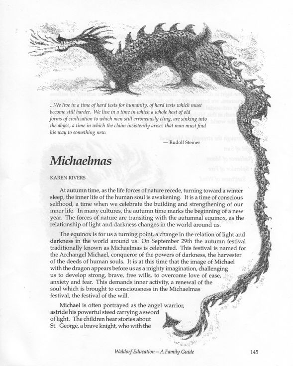 """Description of Michaelmas from """"Waldorf Education: A Family Guide"""" by Fenner and Rivers, Michaelmas Press"""