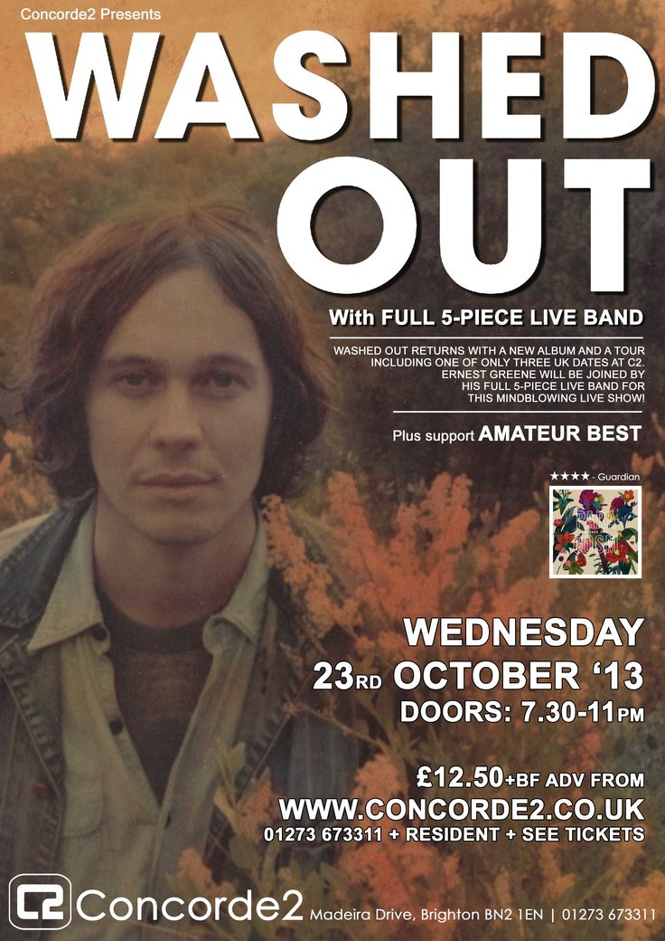 Washed out returns with a new album and a tour, including one of only three dates at Concorde2 on WED 23RD OCT! Ernest Greene will be joined by his full 5 piece live band for his mind blowing live show! Tickets are on sale for just £12.50 adv, CLICK THE IMAGE TO BUY!