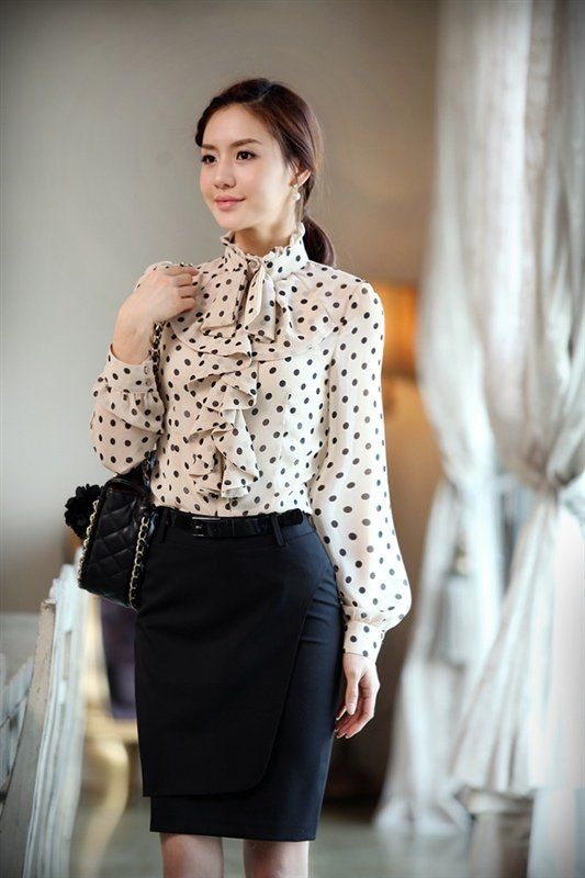 Black Silk Long Sleeve Blouse