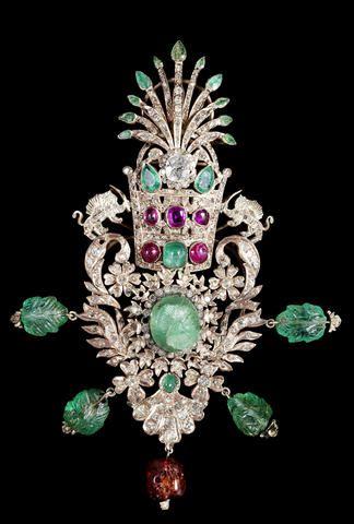 An impressive Royal Qajar gem-set rose-gold Turban Ornament (Jiqa) Persia, 19th Century