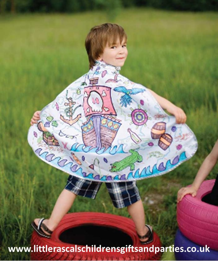We really love this gorgeous Colour Your Own Pirate cape by Great Pretenders.  Not only is it a fantastic accessory to go with any Pirate outfit but kids can get creative and colour it in with the pens supplied.  £25.00 http://www.littlerascalschildrensgiftsandparties.co.uk/#!pirate-fancy-dress-costumes/cej1
