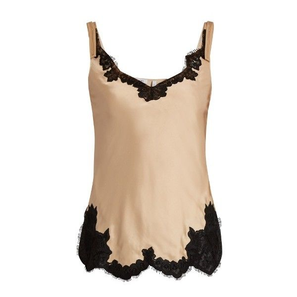 Helmut Lang Lace-trimmed satin cami top ($345) ❤ liked on Polyvore featuring tops, evening tops, cami top, beige tank top, camisole tops and camisole tank top