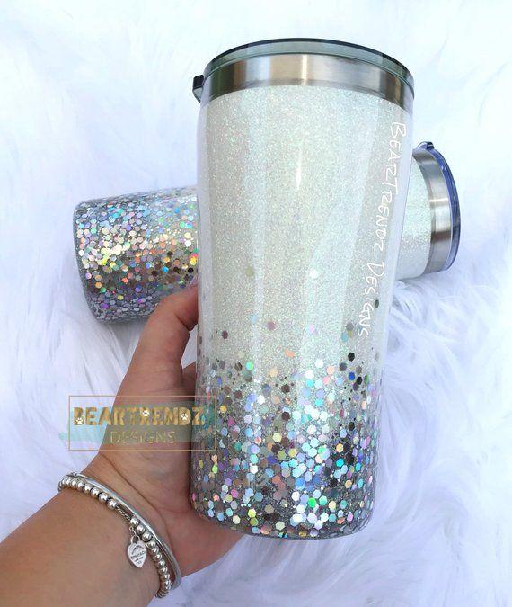 Silver Ombre Glittered Tumbler White Ombre Glitter