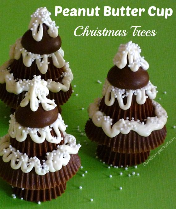 Reese's Peanut Butter Cup Christmas Trees / these are so cute ------ can use colored frosting also ---- let your imagination work!!!! EASY and fun for kids too!