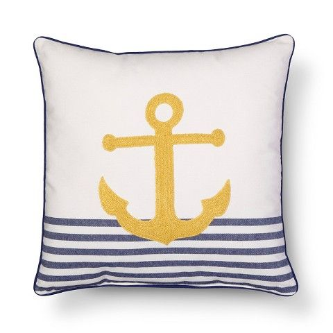 Threshold Embroidered Anchor Decorative Pillow Yellow