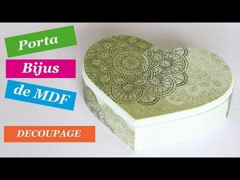 Como Fazer Decoupage de Guardanapo em Caixa de MDF - Porta Bijuteria - YouTube
