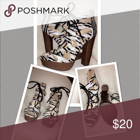 Animal Print Heels Laced up with these chunky heel sandals and have a good night. NWOT Qupid Shoes Heels