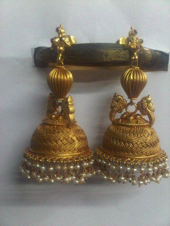 Antique gold gumkas with pearl suspensions