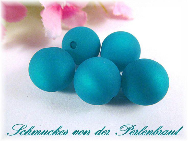 10 Polarisperlen 12 mm matt, Farbe smaragd von Schmuckes von der Perlenbraut auf DaWanda.com