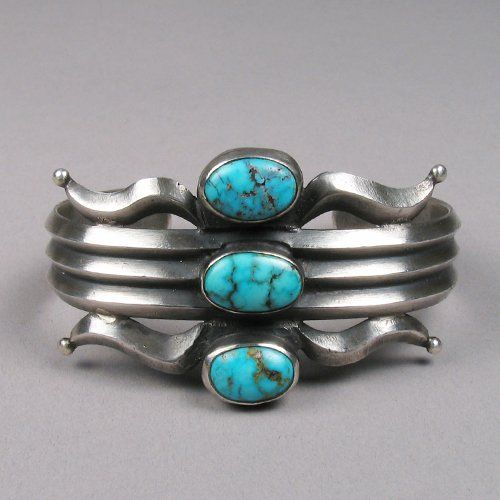Cuff | Unknown Navajo artist.  Sterling silver and turquoise.  ca. 1940