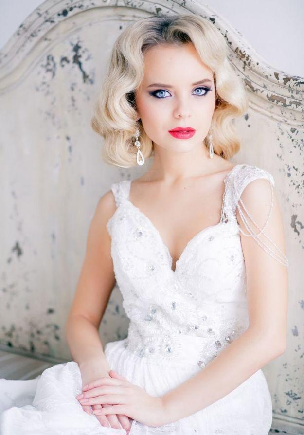 Укладкам в форме «холодной волны» - свадебная прическа на средние волосы ::: onelady.ru ::: #hair #hairs #hairstyle #hairstyles