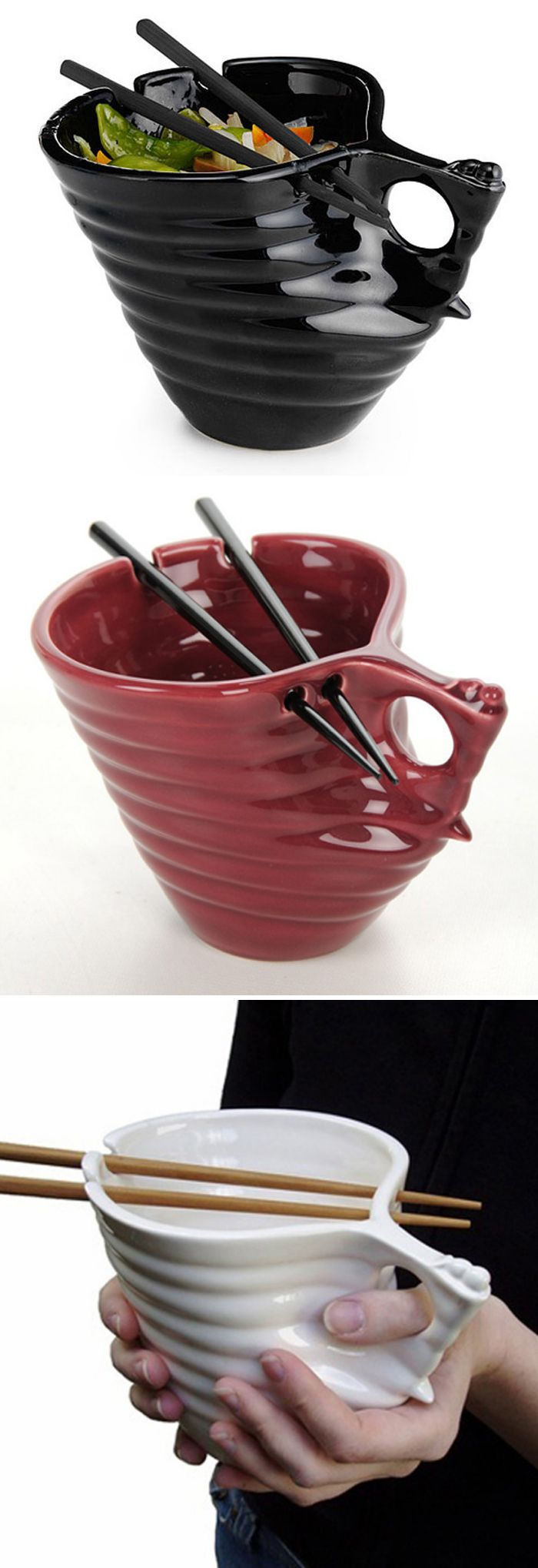 Ramen and udon noodle bowl--fits perfectly in your hands, with a built-in chopstick holder