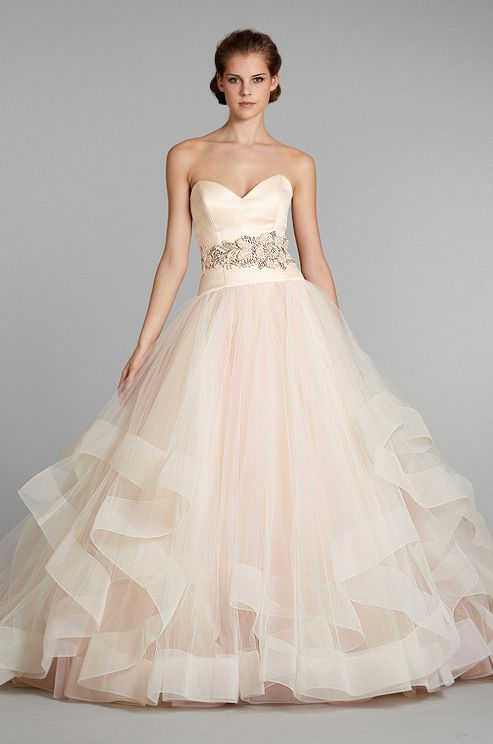 A blush pink wedding dress from Lazaro, Fall 2012