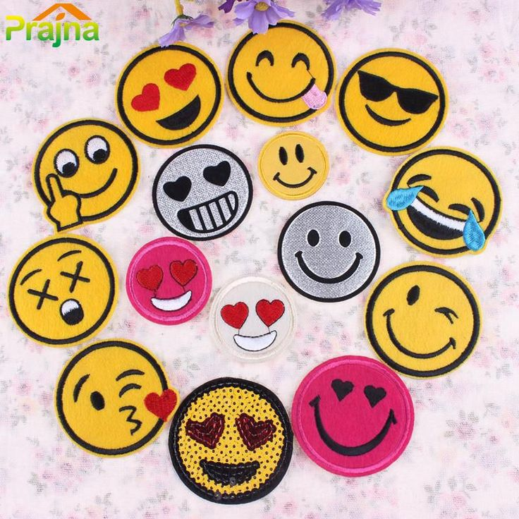Aliexpress.com: Comprar Diseño divertido Emoji Parche Lot Cara de La Sonrisa Parche Apliques Bordados Niños Hierro En Parches Para La Ropa Pegatinas de Dibujos Animados Lindo de Parches fiable proveedores en JiaYing International Trade Co., Ltd