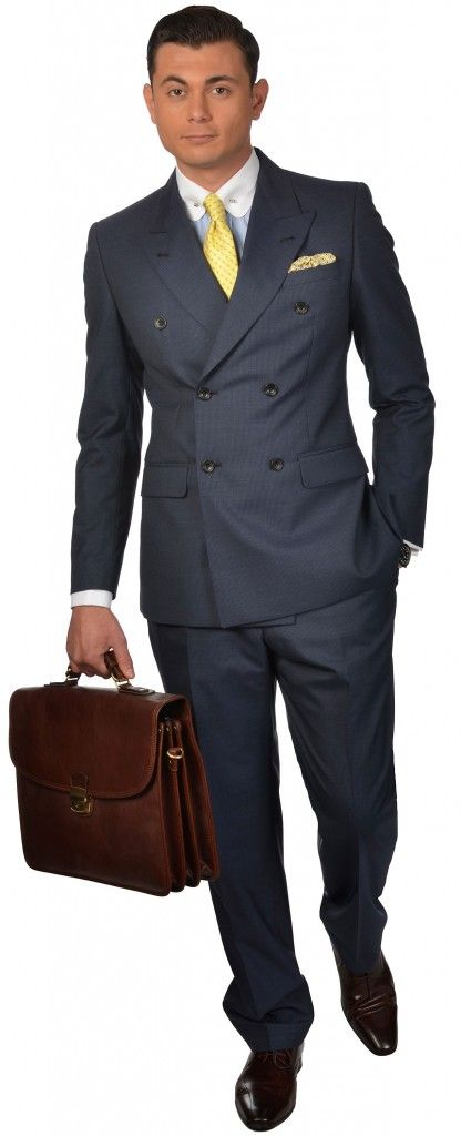 Blue Pinstripe Double Breasted Suit