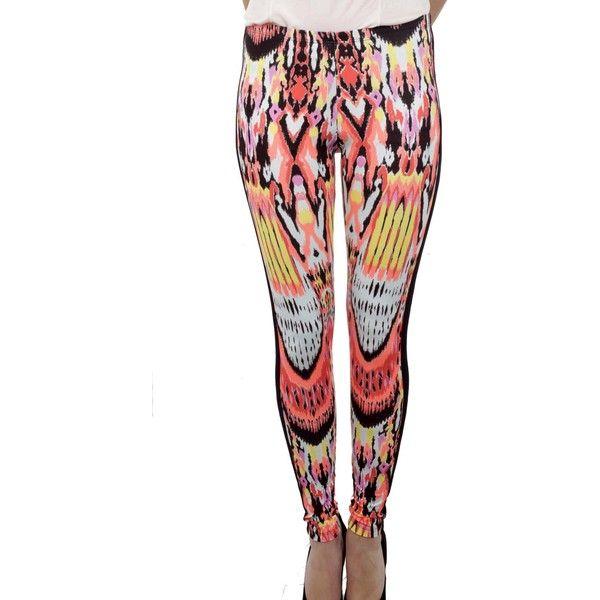 Jorando Tribal Print Leggings (£47) ❤ liked on Polyvore featuring pants, leggings, multicolor, white trousers, tribal print pants, colorful leggings, tribal print trousers and colorful pants