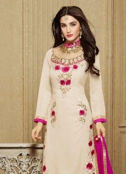 Praiseworthy Cream Churidar Designer Suit