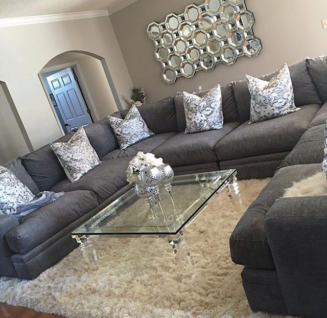 Best 25 big couch ideas on pinterest black sofa living for Living room gray couch