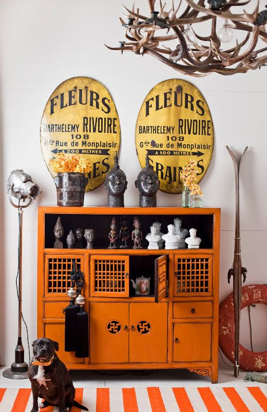 orange laquer chinese cabinet; claire larritt-evans styling: Decor, Signs, Idea, Dogs, Colors, Antlers Chandeliers, Orange Cabinets, Interiors Design, Antler Chandelier