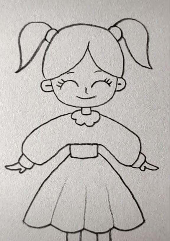 Girls Cartoon Art In 2020 Girl Drawing Easy Easy Drawings Cute Easy Drawings