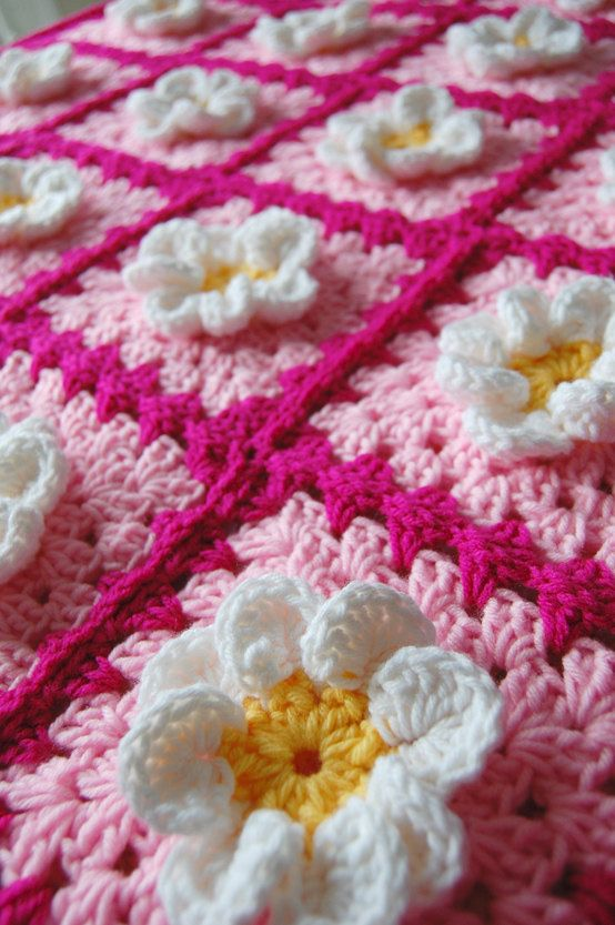 Daisy Flower Pink Granny Square Patchwork Baby Granny Square Afghan Blanket Baby Shower Gift