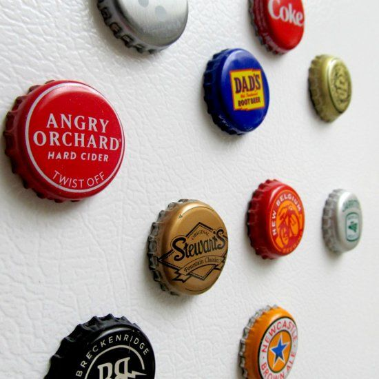 Recycle old bottle caps into fun magnets. Great upcycle project!
