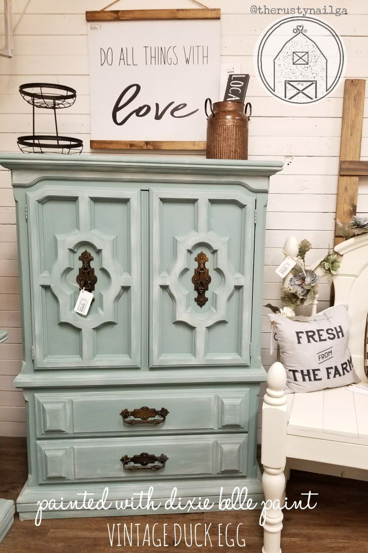 This 1980s Chest/armoire was painted using Dixie Belle Paint. Color is  Vintage Duck Egg. Painted armoire, DIY, Furniture Paint, Distressed  furniture, ...