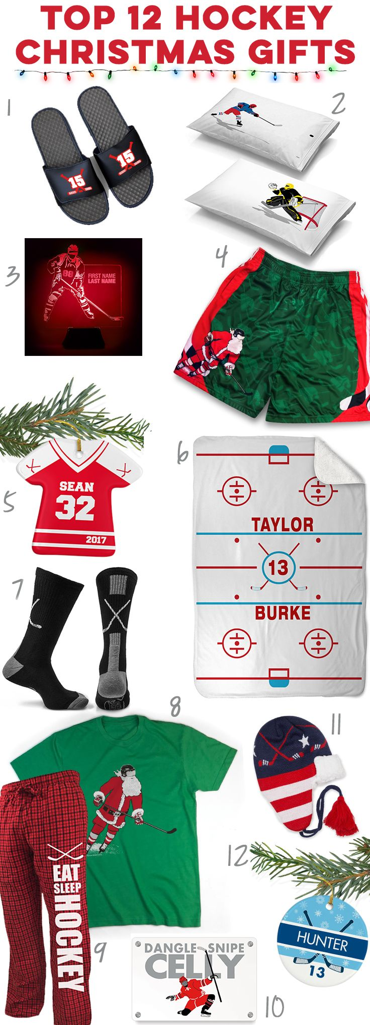 Check out these great holiday hockey gift ideas! Click to see more details on our top 12 hockey player gift ideas. Unique hockey Christmas gifts you can't find anywhere else!