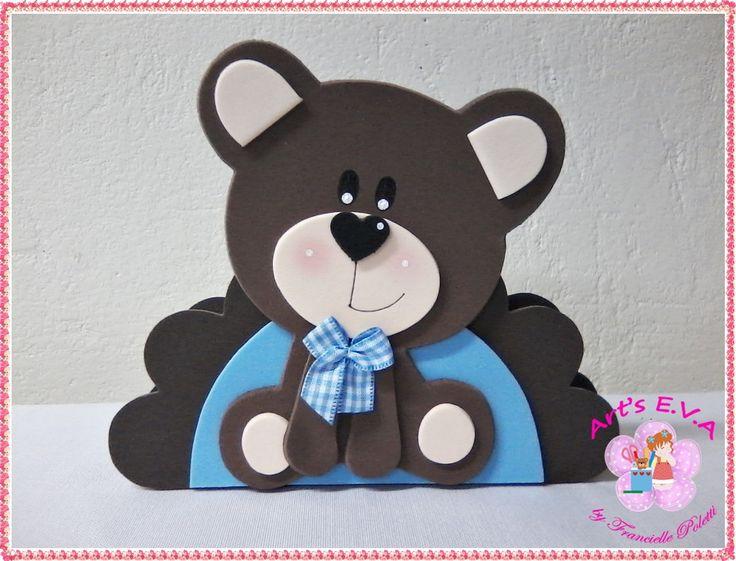 Porta guardanapo Urso azul e marrom.  PEDIDO MÍNIMO: 10 peças.