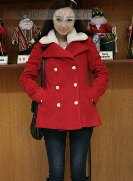 Faddish Japanese Style Double-breasted Fur Thickering Woolen Long Overcoats