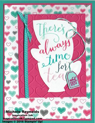 """Handmade card using Stampin' Up! products - A Nice Cuppa Photopolymer Stamp Set, Have a Cuppa Designer Series Paper Stack, Happy Heart Embossing Folder, 1/8"""" Stitched Ribbon, Stampin' Emboss Powder, Baker's Twine, and Cups & Kettle Framelits.  By Michele Reynolds, Inspiration Ink.  #stampinup #inspirationink #anicecuppa #teacups #hearts #teabag"""